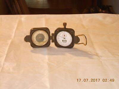 "All Brass ""jeep"" Combination Compass Ans Stop Watch. Weighs 3/4"