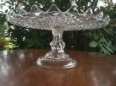 Early Sawtooth 1860s Pedestal Cake Stand New England Glass