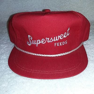 "Vintage ""SUPERSWEET FEEDS"" Farmers Cap  -New Old Stock- Red Cotton - SUPER SWEET"