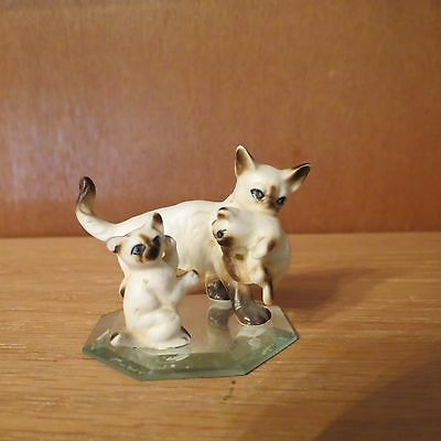 """Charming Tails """"Siamese Mother Cat with Kittens"""" Bone China"""