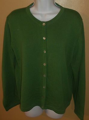 Sz L Foxcroft Cardigan Sweater Button Front Kelly Green Long Sleeve Cotton