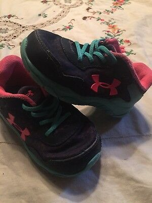 Toddler Girls Under Armour Athletic Shoes Blue Pink And Aqua Size 6