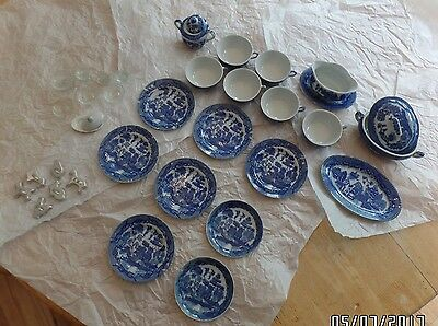 35 pc Vintage Antique Children Toys Dishes ??Blue Willow?? Japan Cookie Cutters