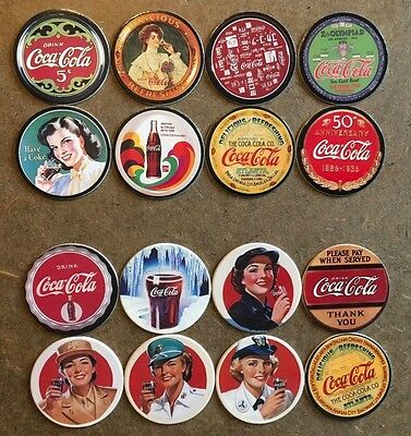 """1993 Collect-A-Card Coca-Cola """"Coke Cap"""" Pogs Series 1 and 2 Set of 16"""
