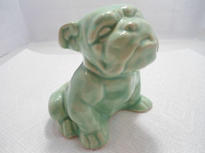 Bulldog Collectible:old Small Ceramic Bulldog Planter For Dried Flower Display.