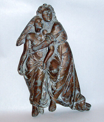 "Antique 9"" Altar Detail Man & Woman Fleeing Wrath Metal Relief Sculpture"
