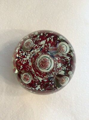 Glass Paperweight Art Glass Glassmaking Red White Blue