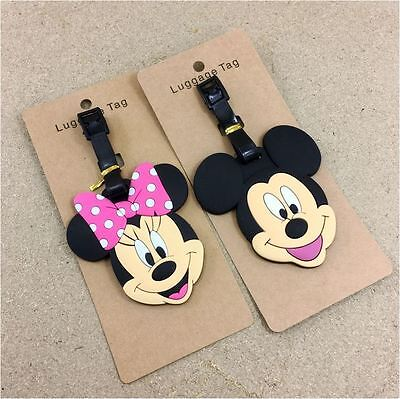 "2X ""Mickey + Minnie Mouse"" Travel Luggage Bag Suitcase Name Address ID Card Tag"