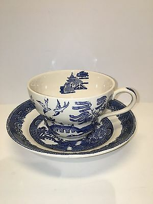 Vintage Over-sized Blue Willow Tea Cup and Saucer - Johnson Brothers - England