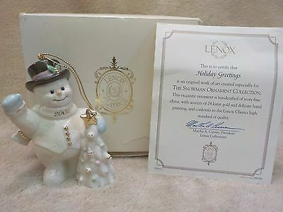 Lenox Holiday Greetings Snowman 2002 Ornament New In Box With Coa