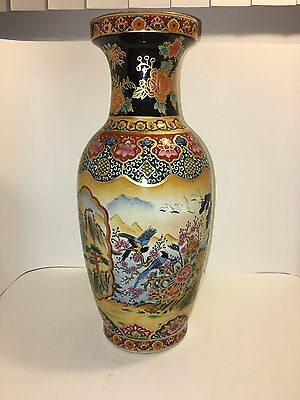 Antique/vintage Japanese Satsuma Hand Painted Porcelain Vase Signed