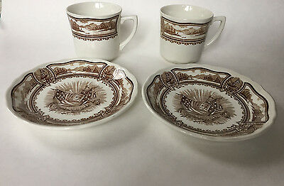 J&G Meakin 1976 Americana Style House Ironstone Patriotic Cups and Saucers