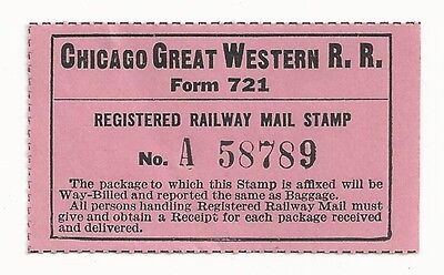 1930's Chicago Great Western R.R. Registered Railway Mail Stamp