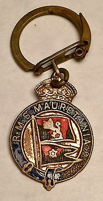 VINTAGE RMS MAURETANIA Key Ring Fob - Enamel Key Ring