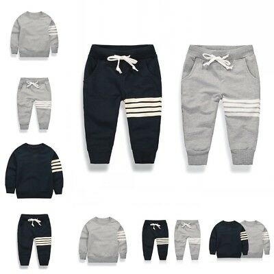 Infant Kid Baby Stripe Clothes Long Sleeve Sweater Tops Sport Pants Trousers