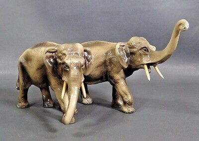 Antique Austria Vienna Cold Painted Bronze Pair Elephants Figurine Sculpture 9''