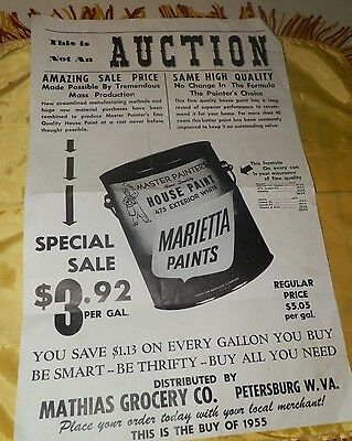 "Original 1955 dated Mathias Grocery Co. ""Marietta Paints"" Ad Poster"