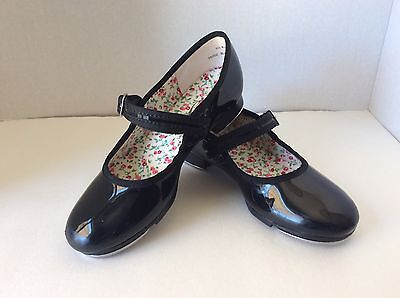 CAPEZIO Tele-Tone Black Patent Leather Mary Jane Tap Shoes Girls Youth Size 1M