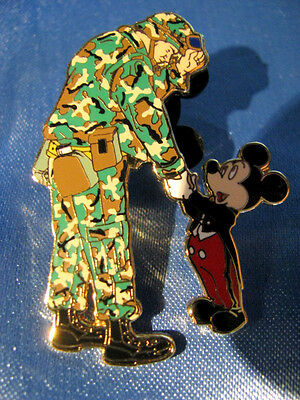 Disney 2003 Army Mickey Hand Shaking Thank You Pin