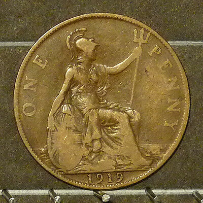 1919 Great Britain Large Penny  Coin     F80
