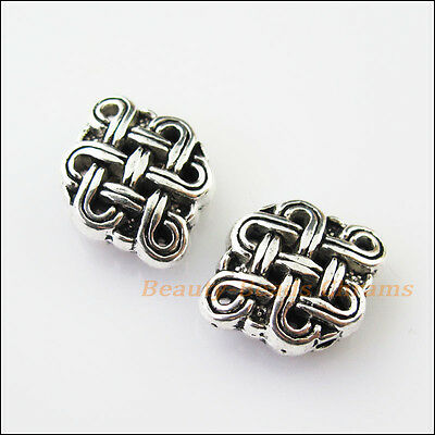 4Pcs Antiqued Silver Tone Oval Chinese Knot Spacer Beads Charms 12x16mm