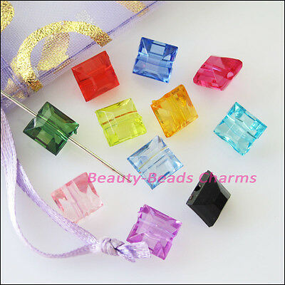 80Pcs Mixed Plastic Acrylic Faceted Square Spacer Beads Charms 8mm