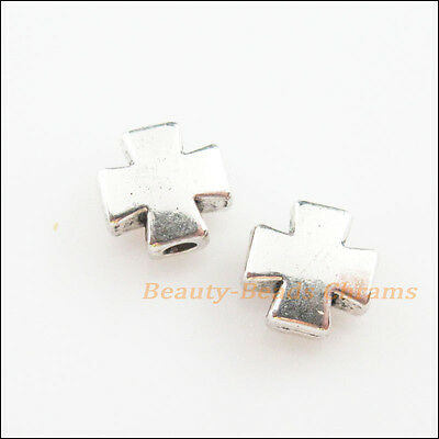 20Pcs Tibetan Silver Tone Smooth Cross Spacer Beads Charms 8mm