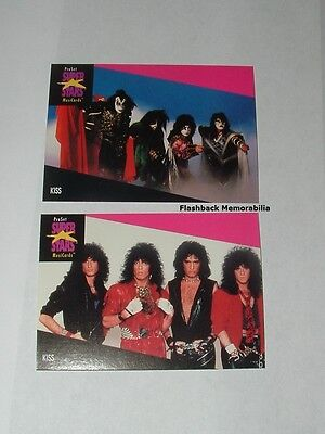 2 Pc. KISS PRO SET CARDS LOT 1st Edition SUPER STARS MusiCards MINT Ace Frehley