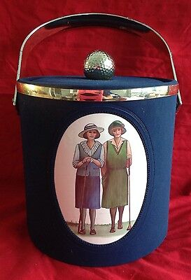 Vintage Lady Golfer Ice Bucket - Blue And Gold - Great Piece!