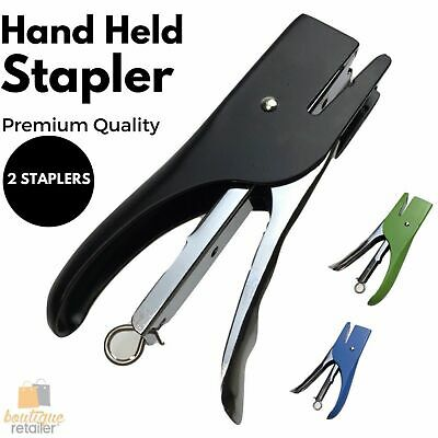 2x Heavy Duty HAND HELD METAL STAPLERS School Home Office Stationary New
