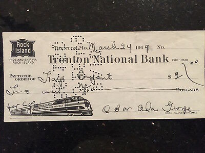 Vintage Rock Island Railroad check from Trenton National Bank, 1949