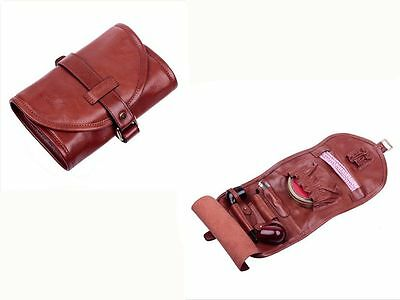 Vintage Style Cow Leather Tobacco Smoking Pipe Pouch Bag Holder For 2 Pipes