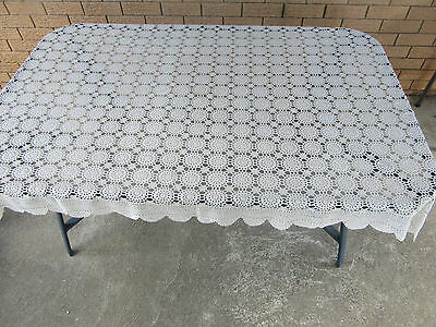 Crochet Ecru coloured Tablecloth with Scalloped Edges - 170cm x 120cm