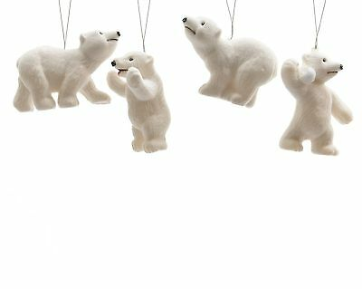 6 x White Polar Bears Hanging Decorations Christmas tree Baubles
