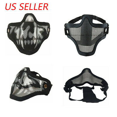 Halloween Mesh Protective SKULL Mask Half Face Tactical Airsoft Military Mask