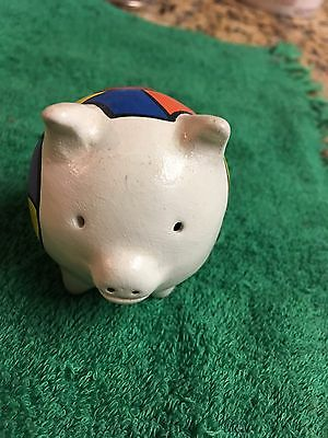 """clay painted White 3 legged pig Figurine for luck  2""""x2"""""""
