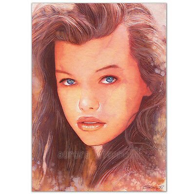 "ORIGINAL AQUARELL ""Forever young"" WATERCOLOR PORTRAIT MILLA JOVOVICH BLUE LAGOON"