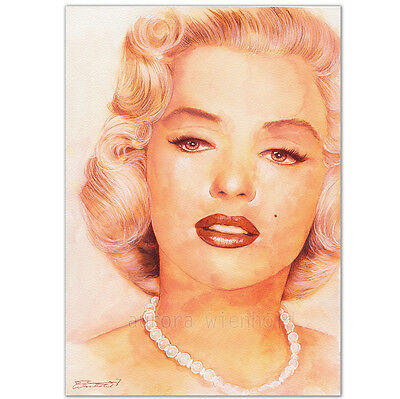 "ORIGINAL AQUARELL ""For the only one I see"" WATERCOLOR PORTRAIT MARILYN MONROE A4"