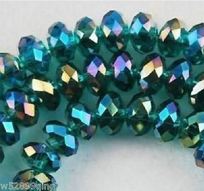 500pc 4*6mm Faceted Rondelle Crystal Glass Loose Spacer Beads Peacock Green AB