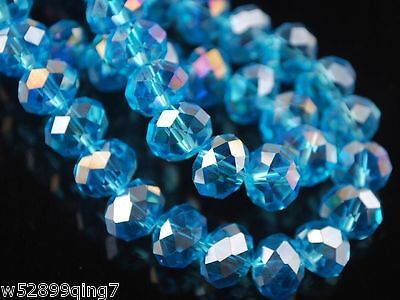 200pc 6*8mm Faceted Rondelle Crystal Glass Loose Spacer Beads Sky Blue AB