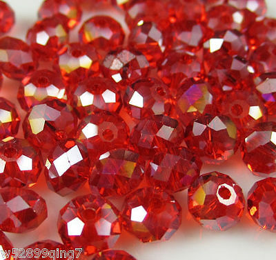 207pc 6*8mm Faceted Rondelle Crystal Glass Loose Spacer Beads Red AB
