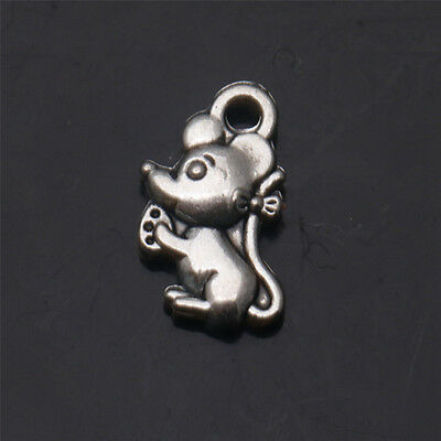 30 PCS Mice Tibetan Silver Charms Pendant Jewelry Findings 12X7mm
