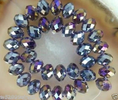 500pc 4*6mm Faceted Rondelle Crystal Glass Loose Spacer Beads Purple AB