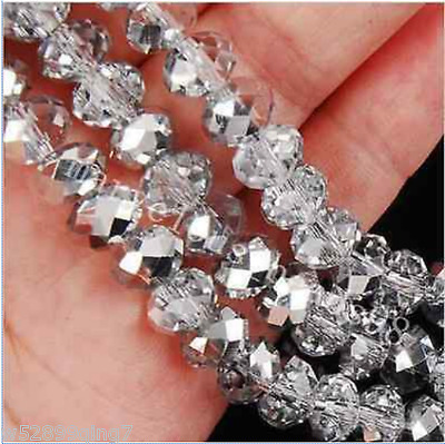 207pc 6*8mm Faceted Rondelle Crystal Glass Loose Spacer Beads Silver white