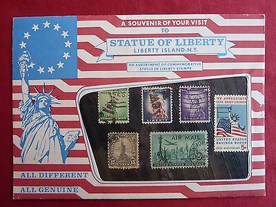 Statue of Liberty - Liberty Island New York Souvenir Stamp Set - Vintage