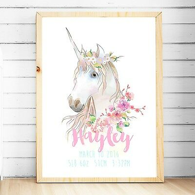 Girls Personalised Baby Nursery Decor Wall Art Print, Birth Announcement-Unicorn