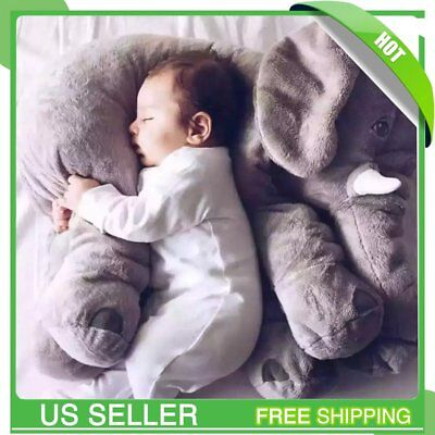 24Inch Pillow Elephant Children Soft Plush Toy  Baby Kids Nose Cushion Lumbar AS