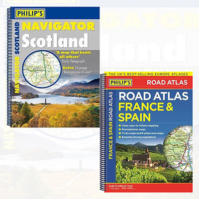 Philip's Navigator Scotland and Philip's France and Spain 2 Books Collection Set