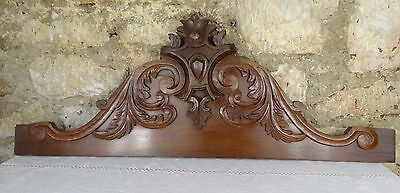 "32.5"" Antique French Pediment Crown Walnut Carved Wood Crest"