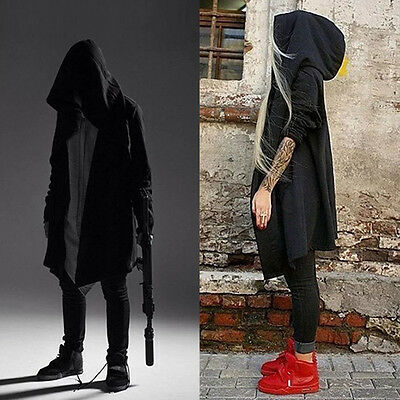 Punk Men's Cardigan Hooded Long Cloak Cape Coat Loose Casual Slim Fit Jacket DAZ